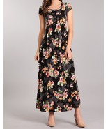 Black Floral Maxi Dress, Short Sleeve Maxi Dress, Maternity Friendly, Wo... - €39,70 EUR