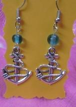 Dangle Earrings Crystal Green and Silver Anchor Earrings - $7.87