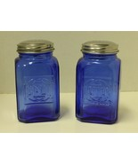 New Cobalt Blue Depression Style Glass Salt and Pepper Shakers Embossed ... - $16.00