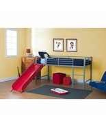 Silver Junior Loft Bed with Red Metal Slide Twin Bunk Size Kids Play Fur... - $295.91
