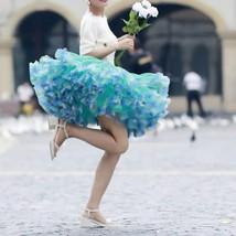 Women Above Knee Ruffle Layered Tulle Skirt Princess Plus Size Tiered Tu... - $75.99+