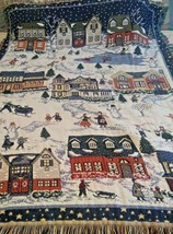 "Winter Tapestry  Blanket Winter Town Scene 52""x43"" - $4.95"