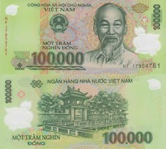 100000 Vietnamese Dong Uncirculated Bank Note for Collectors MINT USA Fa... - $19.79