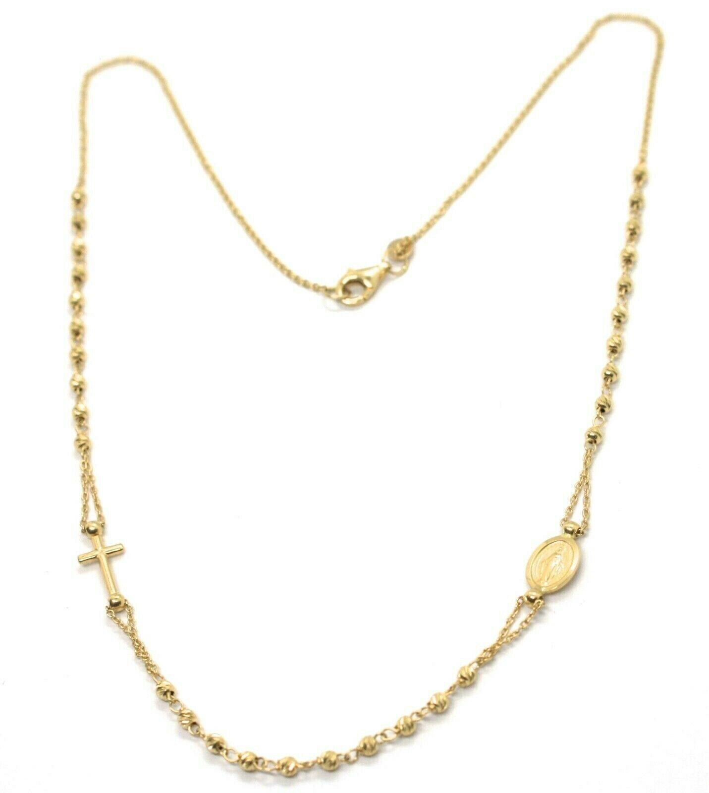 Necklace Rosary Yellow Gold 750 18K, Medal Miraculous cross, Spheres Fairisle