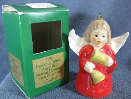 Goebel Annual Angel Bell Ornament 1986 Bells Red Boxed West Germany Vintage - $19.97