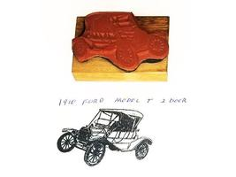 Collector Car Rubber Stamps 1910 Ford Model-T 2 Door Rubber Stamp