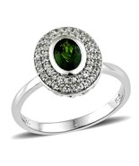 Russian Chrome Diopside Cambodian Zircon Ring size 8 natural untreated u... - $46.41