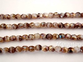 50 4mm Czech Glass Firepolish Beads: Opaque White/Tortoise - Celsian - $3.26