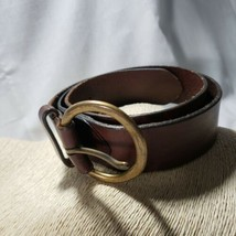 Gap Sz Small Leather Hippy Belt Womens Round Brass Buckle Joiner - $12.19