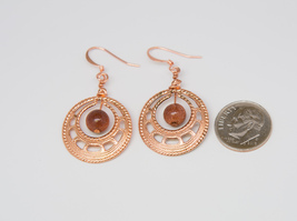 Copper and Goldstone Earrings - reiki infused - $12.95