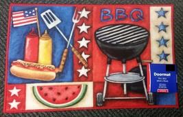 "KITCHEN NYLON MAT / RUG (nonskid back) (17"" x 28"") PATRIOTIC AMERICAN BBQ - $16.82"