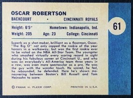 1961 Fleer #61 Oscar Robertson Rookie Reprint - MINT - Cincinnati Royals - $1.98