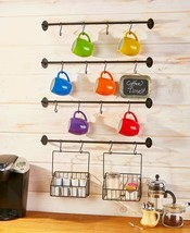 Wall Mounted Coffee Mug Rack with Hooks & Baskets Steel Kitchen Storage NEW - $30.39