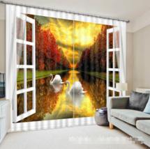 3D Swan Dusk 0167Blockout Photo Curtain Printing Curtain Drapes Fabric Window UK - $145.49+