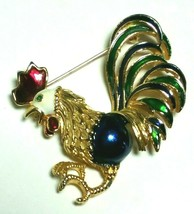 VINTAGE ENAMEL BLUE GREEN RED ROOSTER CHICKEN BIRD BROOCH PIN - $40.00