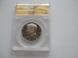 Kennedy Half Dollar , 1974-S , Proof 68 , DCAM , ANACS Certifiied - $20.00