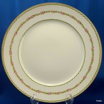 CH Field Haviland GDA Salad Luncheon Plate Pink Roses Green Garland Limoges - $13.86