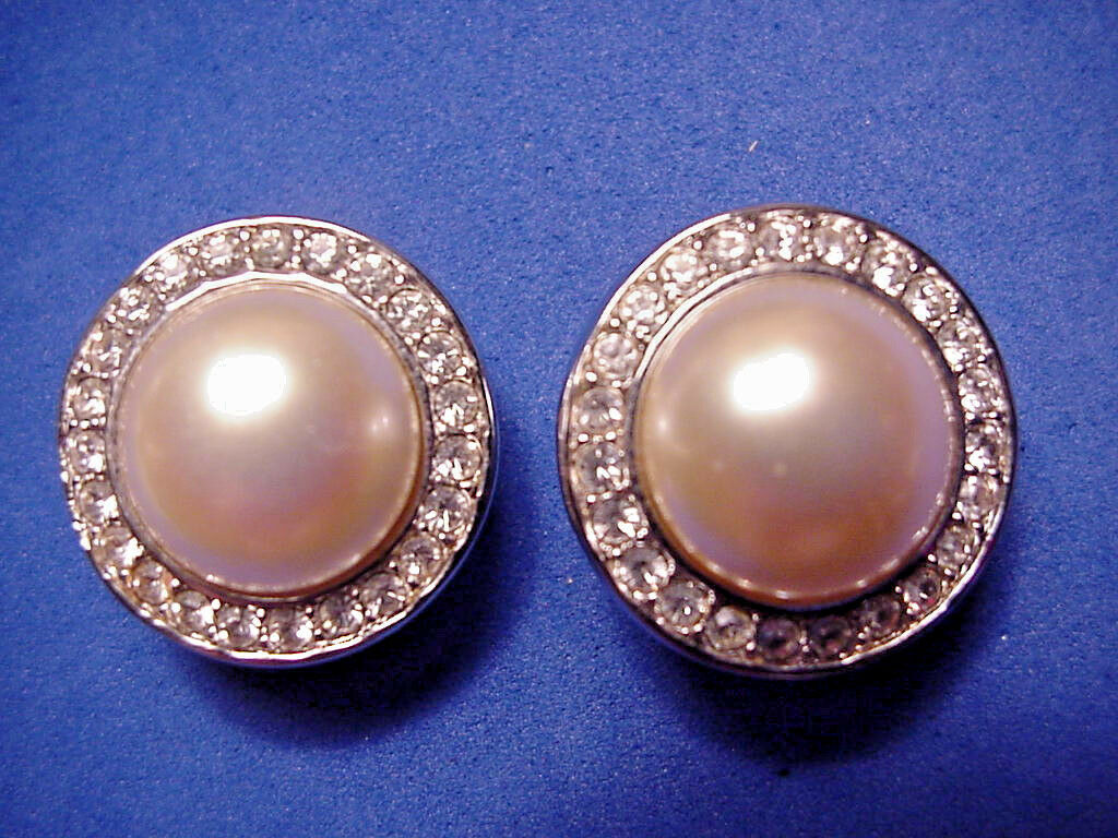 Primary image for Swarovski Brand Clip On Earrings Faux Pearl Crystals Silver Tone S A L
