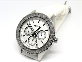 FOSSIL Stella 3 Dial Watch Crystal Bezel 5 ATM Rubber white Band New Battery - $49.49