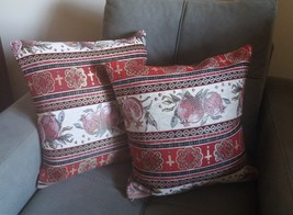 Handmade Armenian Pillow Cases, Cushion Cover, Striped Pillows, Pomegranate - $78.00