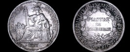 1887-A French Indo-China 1 Piastre World Silver Coin - Vietnam - $179.99