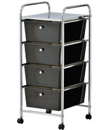 Black 4 Drawer Trolley Office Rolling File Organiser Beauty Salon Storag... - $42.29