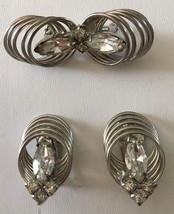 Vintage Rhinestone Pin Clip Earring Set Mid Century Silvertone 60's Brooch - $19.29