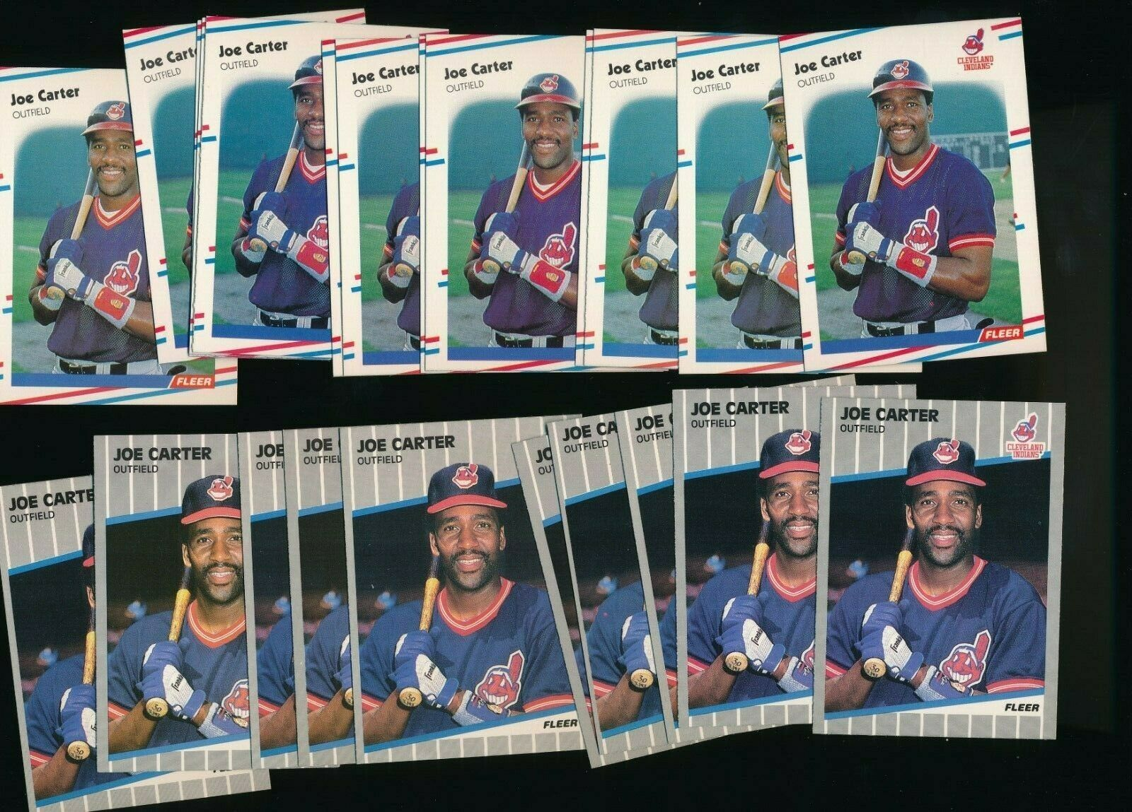 Primary image for 1988 1989 Fleer Indians Joe Carter #400 #605 Lot of 23