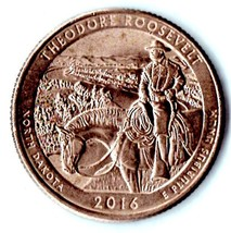 2016 P Washington Quarter - North Dakota - Theodore Roosevelt - About AU55 - $1.25