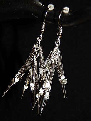 NEW HAND MADE SILVER STICKS PIERCED EARRINGS-STERLING SILVER, WHITE, CLEAR BEADS image 5