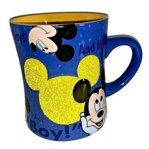 """Disney Parks Mickey Mouse MUG Authentic"""" Aw Boy ,And How """" Saying  Blue & Yellow - $14.84"""