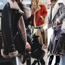 2017 Winter Fashion Fur Faux Pu Leather Jacket Inside Fleece Thicken Coat Women