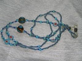 Estate Handmade Long Blue Glass Plastic & Ceramic Bead Glasses Holder or... - $8.59