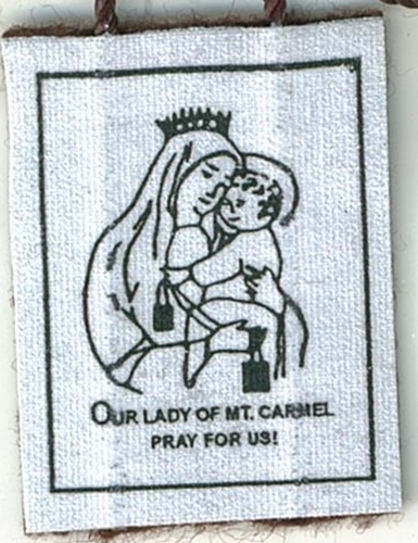 Brown Scapular of Our Lady of Mount Carmel with Pamphlet - 100% WOOL image 3