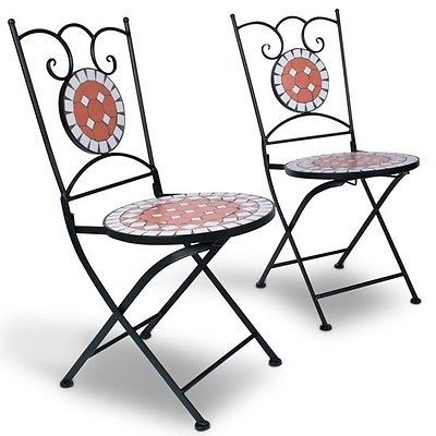 Bistro Mosaic Balcony Table Set Garden Patio Furniture Table & 2 Chairs Outdoor image 3