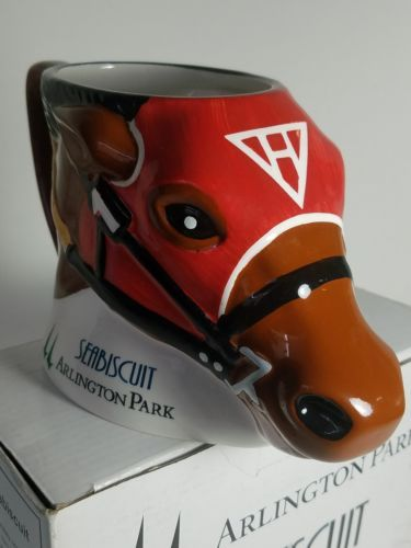 Limited edition SEABISCUIT ARLINGTON PARK   HORSE MUG - Collectible New in box.