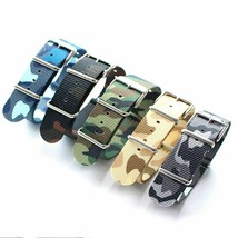 18 20 22 24mm Camo Green Blue Seatbelt Watch Band For Military Watch Nat... - $26.31