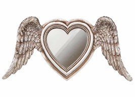 LAST CHANCE! Antiqued Silver Angel Wings Winged Heart Mirror Resin Alche... - $24.00