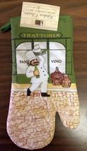 "Rare Fat Chef Printed 13"" Large Oven Mitt, Trattoria, green back, green Vino - $7.91"