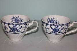 Pair of Blue on White Tea Cups made in England - $11.88