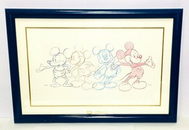 Mickey Mouse Through The Years 1928 -1989 Framed Sketch Print Disney Cha... - $59.84