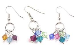 Custom Family Birthstone Dangle Earrings with Crystal from Swarovski Mot... - $13.49+