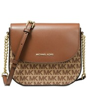 NWT MICHAEL KORS SIGNATURE JACQUARD HALF DOME CROSSBODY BAG LOGO BROWN - $124.81