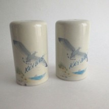 "Vintage Ceramic Salt & Pepper Shakers Key West Ocean Bird 3 "" Tall Blue  - $8.86"