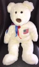 TY Beanie Buddy Plush Stuffed Animal White Bear American Flag 2000 Liber... - $23.75