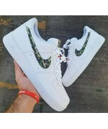 nike air force 1 white custom 'Camo swooshes' available in all sizes 6-14 - $205.00