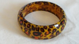 "Vintage Thick Wide Resin Leopard Bangle Bracelet, 2.75""DIAMETER, Glossy, Orange - $13.36"
