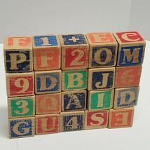 20 VTG Wooden Blocks Math ABC Numbers Alphabet  multi sided (ff) - $14.85