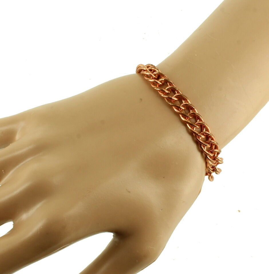 VINTAGE 1950'S SOLID COPPER DOUBLE LINK TWIST LINK CHAIN CHARM BRACELET 7.25""
