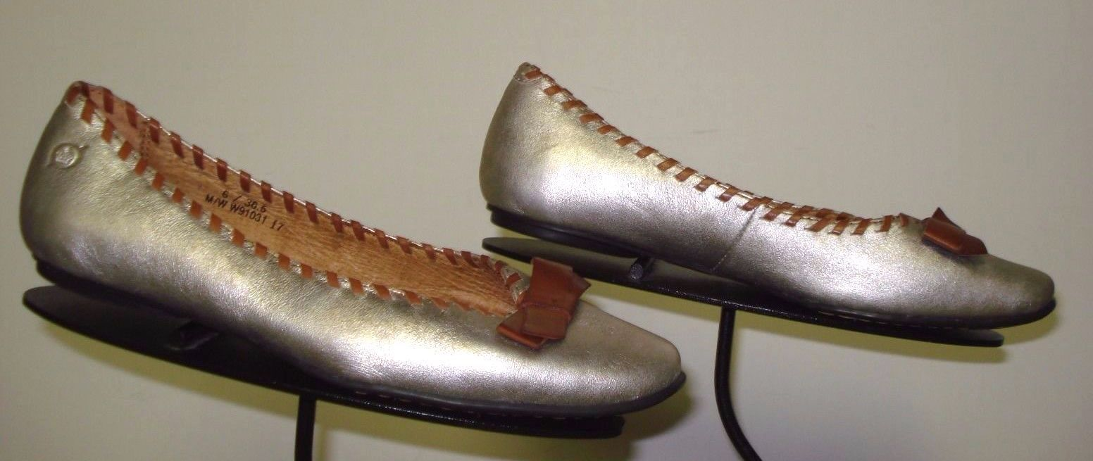 Women's BORN Silver Metallic Leather/Brown Trim Flats Sz. 36.5/6 US MINTY!